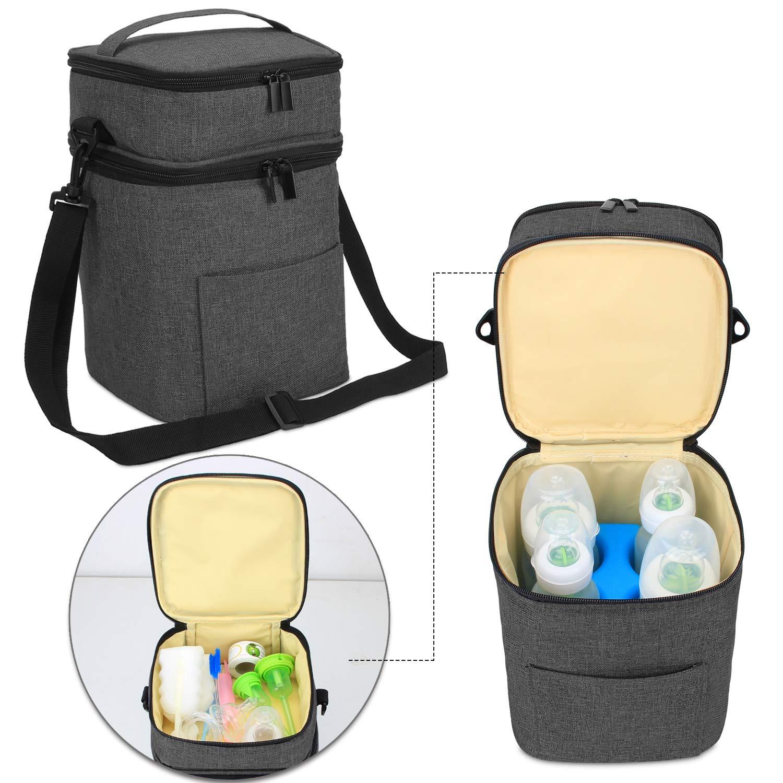 Bag Only Luxja Breastmilk Cooler Bag Black Hold Four 5 Ounce Breastmilk Bottles Leakproof Breast Milk Cooler for 4 or 5 Ounce Bottles