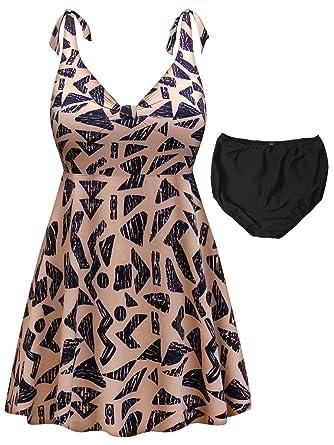 5327322255727 Tan & Black Abstract Print 2-PC Straps Style Plus Size Supersize Swimdress  1x
