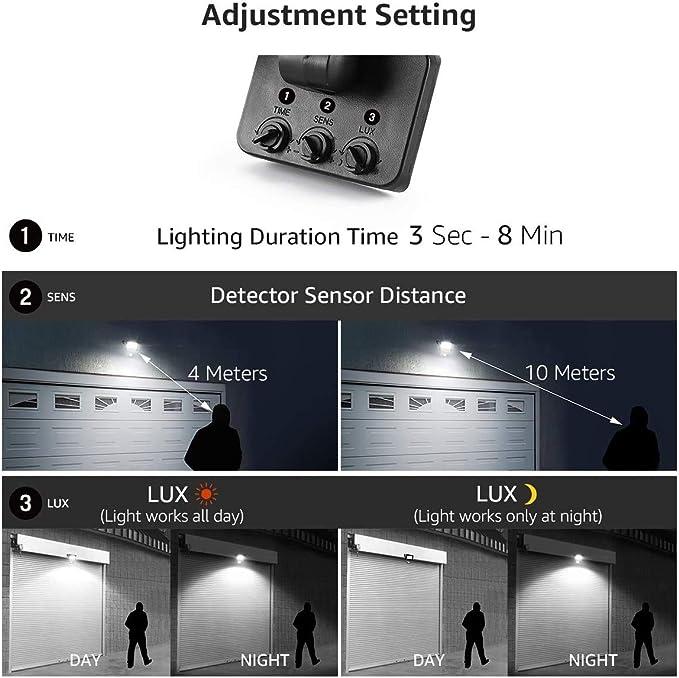 Projecteur LED avec d/étecteur de mouvement 10 W blanc chaud 800 lm 3000 K Projecteur ext/érieur en aluminium 220 V /étanche IP65 pour jardin cour garage terrain de sport