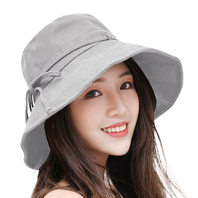 a8ee420eed2 Women Sun Hats UPF50 Cotton Packable Wide Brim Outdoor Summer Hat 56-58CM  (Gray