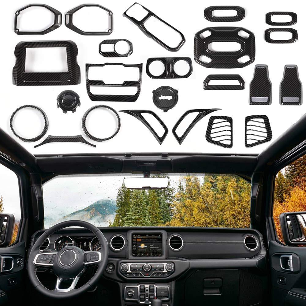 RT-TCZ Carbon Fiber Interior Decoration Trim Kit,Trim for 2018 Jeep Wrangler JL Unlimited (24PCS) by RT-TCZ (Image #1)