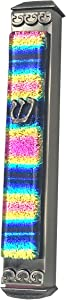 EASY MOUNT Rainbow Stripe Magenta Art Glass Mezuzah, Easy Mount Indoor or Outdoor Weatherproof Metal Case Gift Box and Non-Kosher Scroll Included HAND MADE IN THE USA Guaranteed for Life!