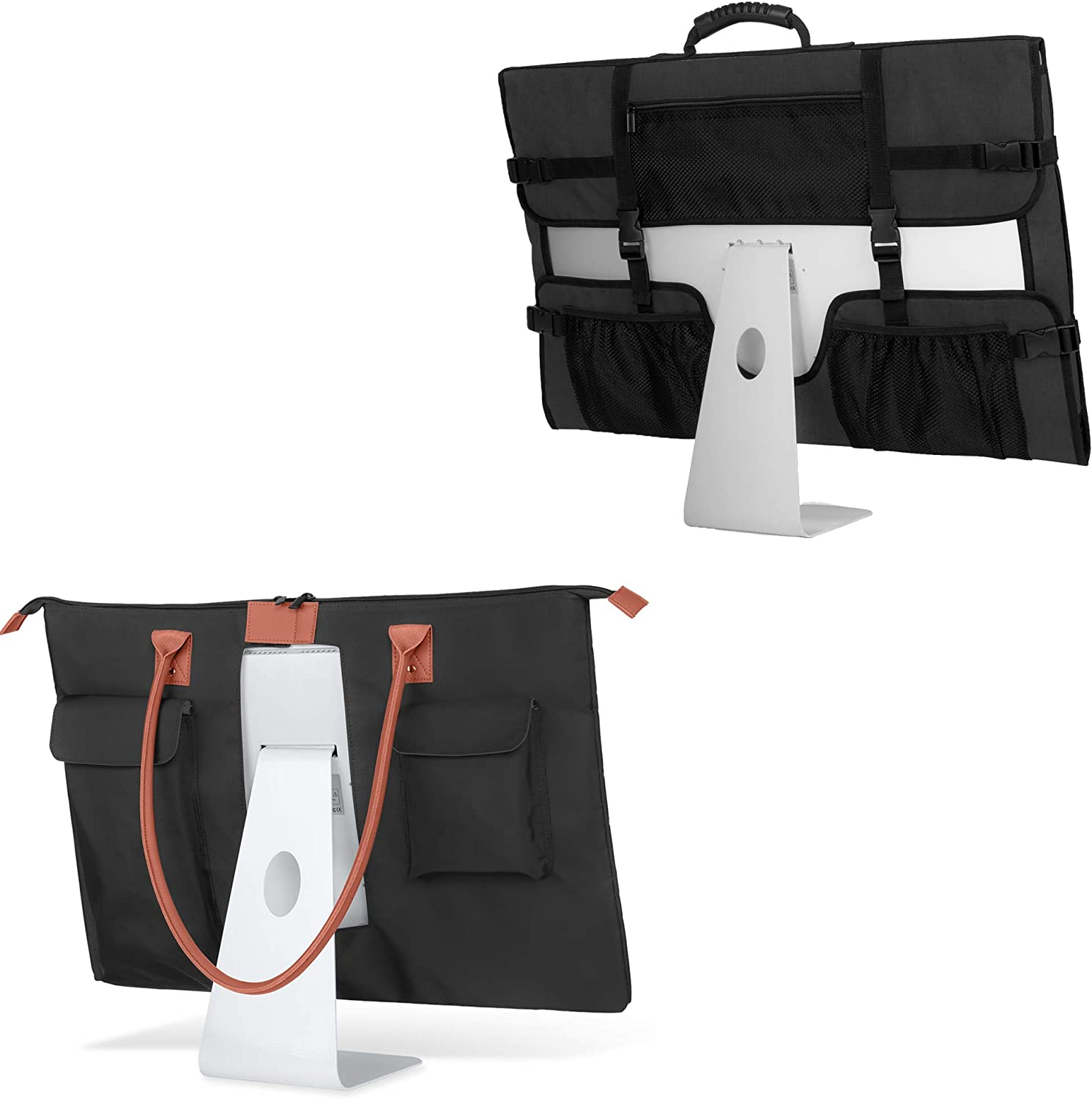 """CURMIO Travel Carrying Bag Compatible with Apple 27"""" iMac Desktop Computer, Tote Bag for 27"""" iMac Monitor and Accessories, Black"""