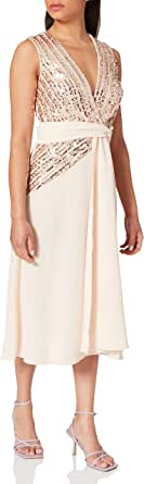 Little Mistress Jena Sequin Stripe Midi Dress Vestido Fiesta Mujer