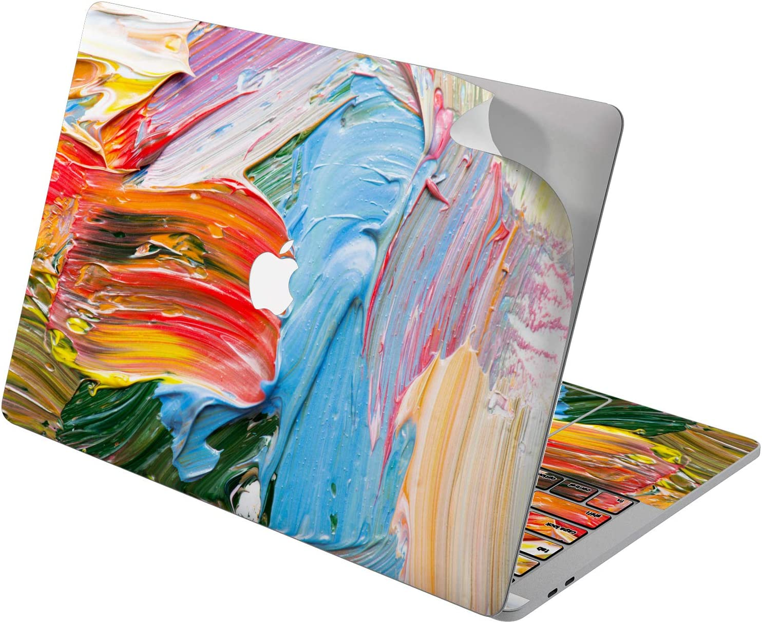 "Cavka Vinyl Decal Skin for Apple MacBook Pro 13"" 2019 15"" 2018 Air 13"" 2020 Retina 2015 Mac 11"" Mac 12"" Art Laptop Protective Design New Cover Print Sticker Paint Colorful Bright Funky Streaks Smears"