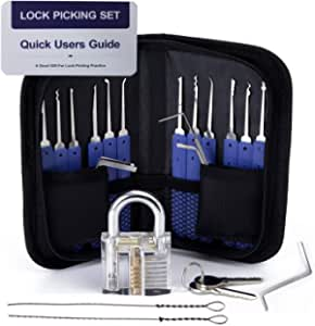 Lock Pick Set, Cozysmart 19 Piece Lock Picking set kit Tools with 1 Clear Practice and Training Locks for Lockpicking, Extractor Tool for Beginner and Pro Locksmiths