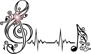 DesignToRefine Vinyl Wall Decal Musical Note Heartbeat Pulse Music Art Stickers (530ig) White