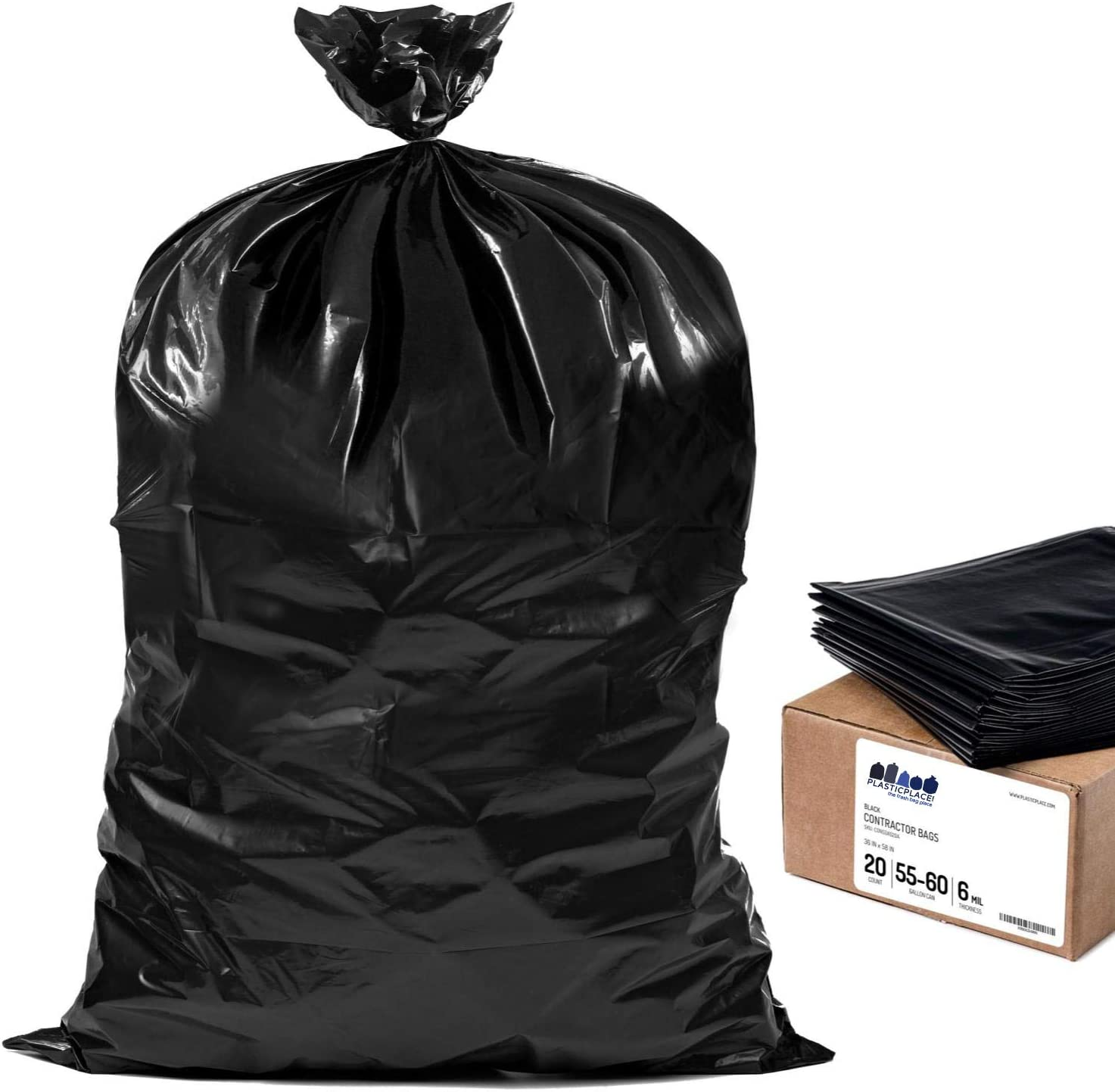 "Plasticplace Contractor Trash Bags 55-60 Gallon │ 6.0 Mil │ Black Heavy Duty Garbage Bag │ 36"" x 58"" (20 Count) (CON55X620A)"