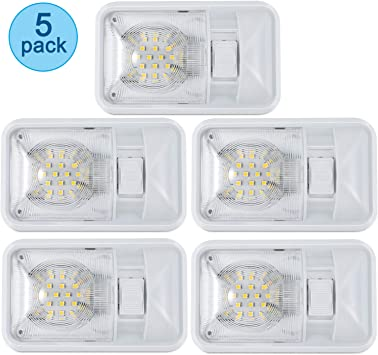 Single Dome 300LM Each Pack of 5 Kohree 12V Led RV Ceiling Dome Light RV Interior Lighting for Trailer Camper with Switch