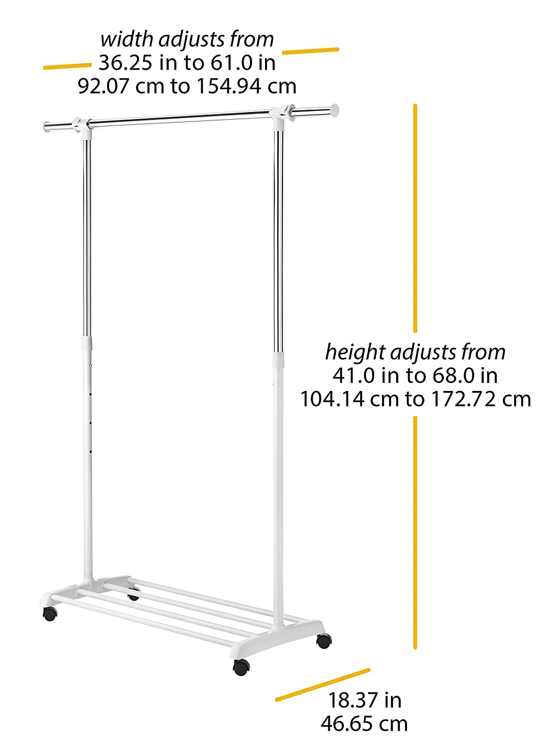 Whitmor Deluxe Adjustable Garment Rack White and Chrome 6024-5908-BB Rolling Clothes Organizer