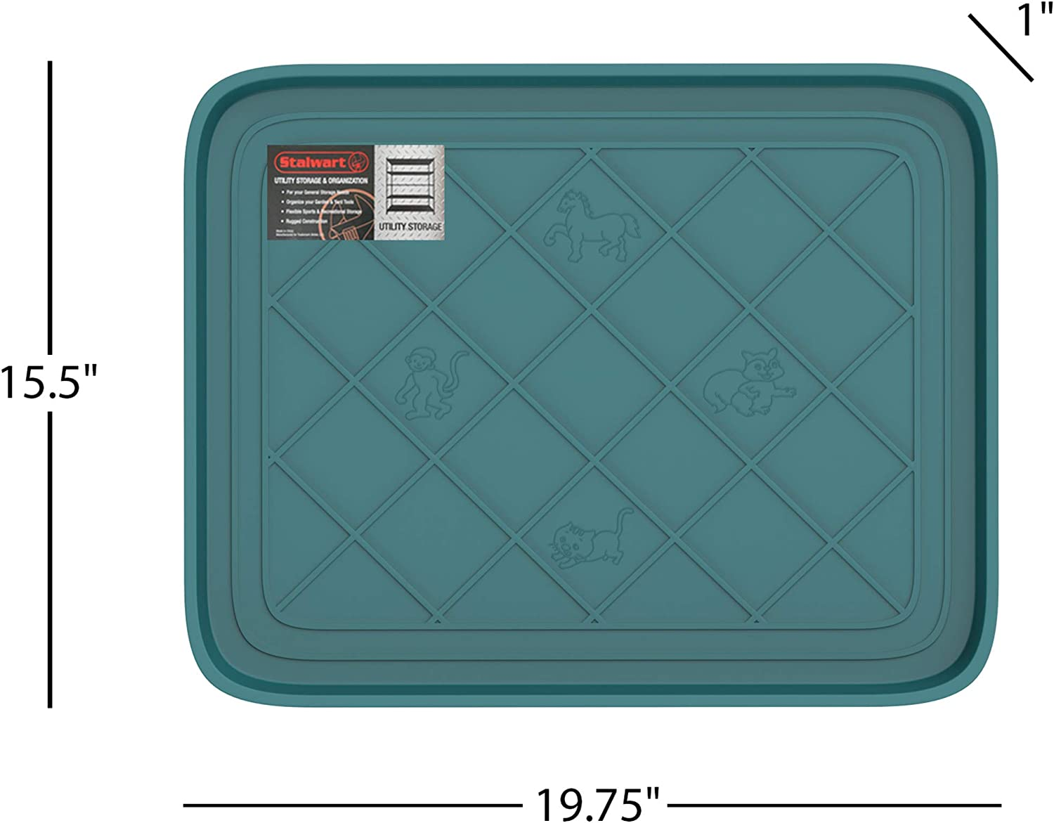 Amazon Com Stalwart 75 St6106 Weather Boot Tray Small Water Resistant Plastic Utility Shoe Mat For Indoor Outdoor Use In All Seasons Teal Home Kitchen