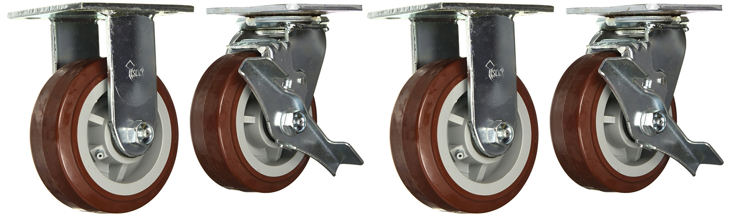 Service Caster SCC-30CS520-PPUR-TLB-2-R520-2 Heavy Duty Polyurethane Casters, Rigid with Brake, 5'' Size (Pack of 4)