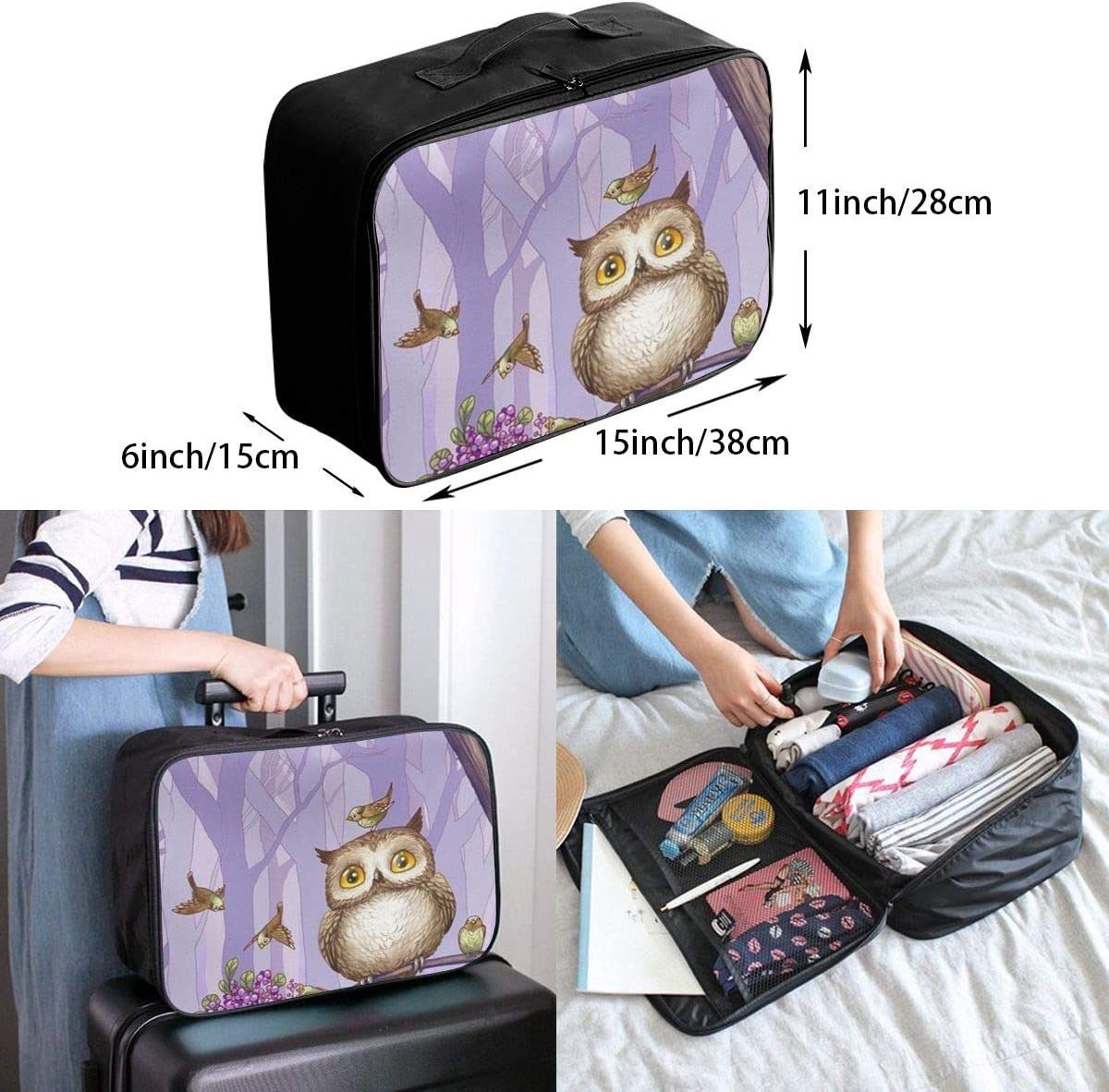 Cartoon Owl Travel Carry-on Luggage Weekender Bag Overnight Tote Flight Duffel In Trolley Handle