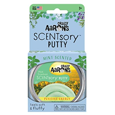 """Crazy Aaron's Scented Thinking Putty 2.75"""" Tin – Mint Scented Light Green Putty – SCENTsory Positive Energy – Never Dries Out: Toys & Games"""