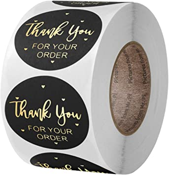 Thank You Stickers 500pcs 2 5cm 1inch Thank You For Your Order Stickers Thank You Sticker Roll With Gold Foil Black Amazon Co Uk Office Products