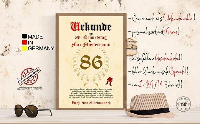 Urkunde Zum 86 Geburtstag Gluckwunsch Geschenkurkunde