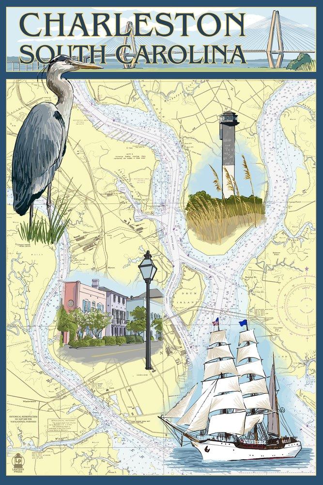 チャールストン、サウスカロライナ州 – Nautical Chart 36 x 54 Giclee Print LANT-33166-36x54 36 x 54 Giclee Print  B017E9XSQW