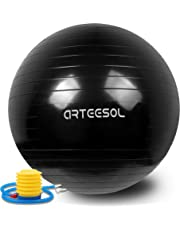 Exercise Yoga Ball, Arteesol Anti-Burst Swiss Ball, Fitness Yoga Ball 45/55/65/75cm with Quick Pump for Balance Training, Yoga, Workout, Physical Therapy