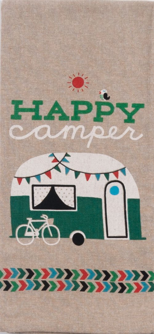 Just 4 U Gifts J4U Happy Camper Kitchen Set - I Heart Camping Happy Camper Towels and Feathers Scented Sachet with Gift Tag by Just 4 U Gifts (Image #2)