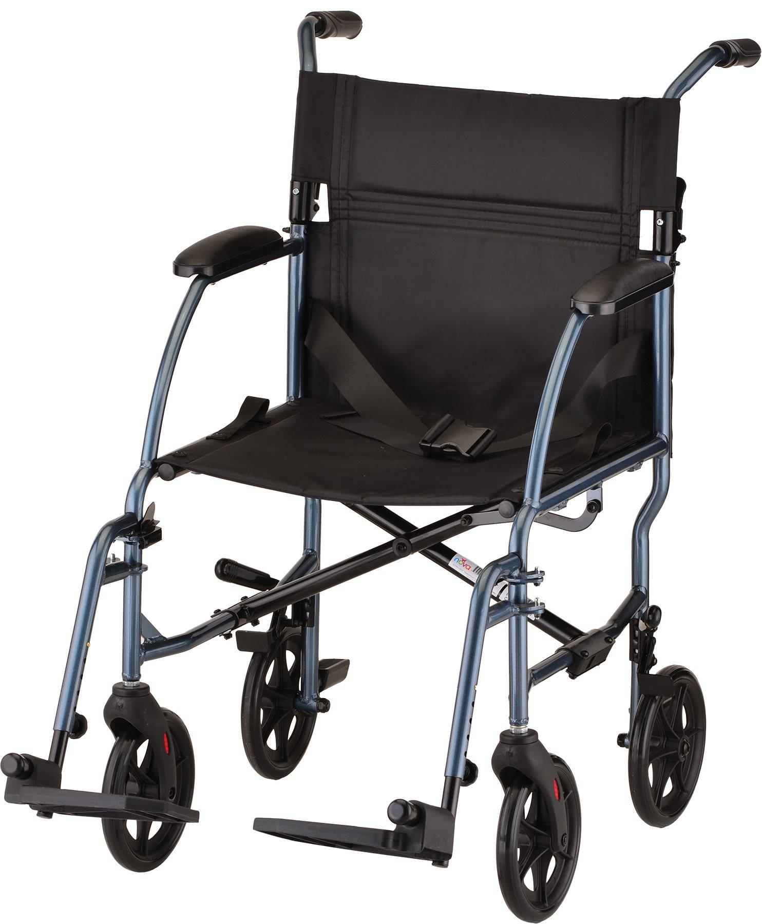 NOVA Medical Products Ultra lightweight Transport Wheelchair, Blue - 18 Inch