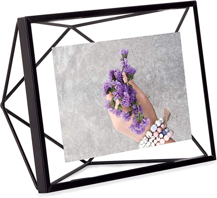 Umbra Prisma Picture Frame, 4x6 Photo Display for Desk or Wall, Black