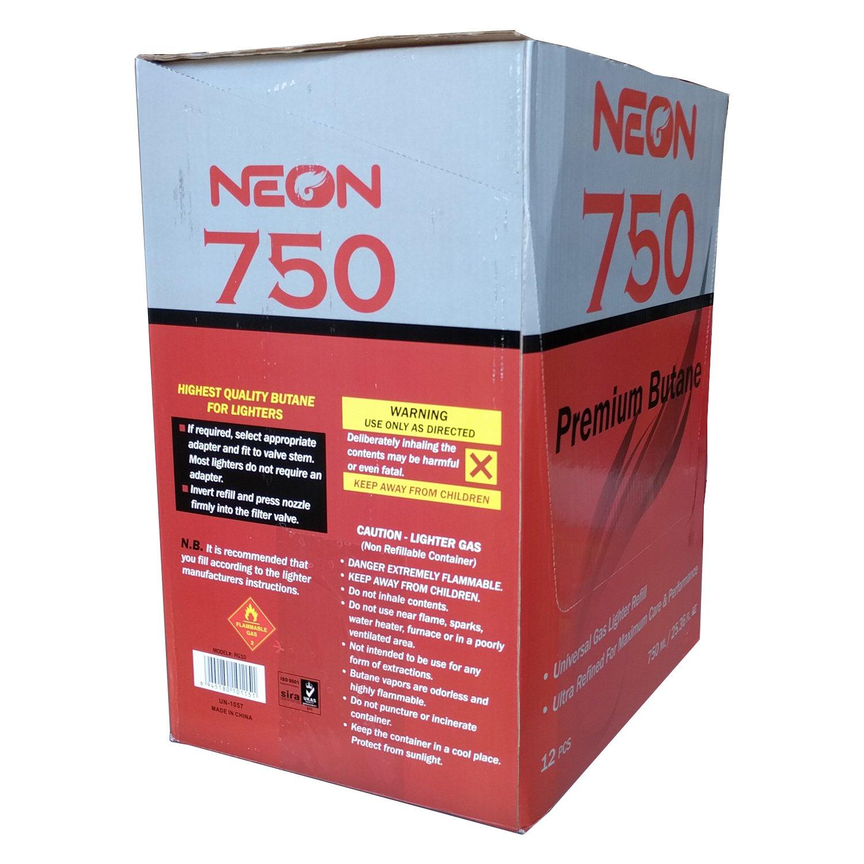 Neon Butane - 11x Ultra Refined 750ml Universal Gas Lighter Refill - Near Zero Impurity - 48 Cans