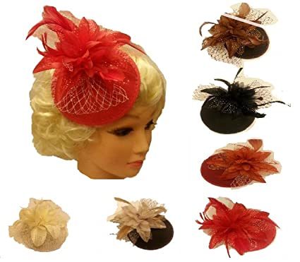 Vintage 1940s-50s hat Fascinator Ascot hat feather fascinator Wedding Race  Cocktail hat Red Black Brown Cupuchino Red Ivory Terracota Rust feather ... 74abb11b457