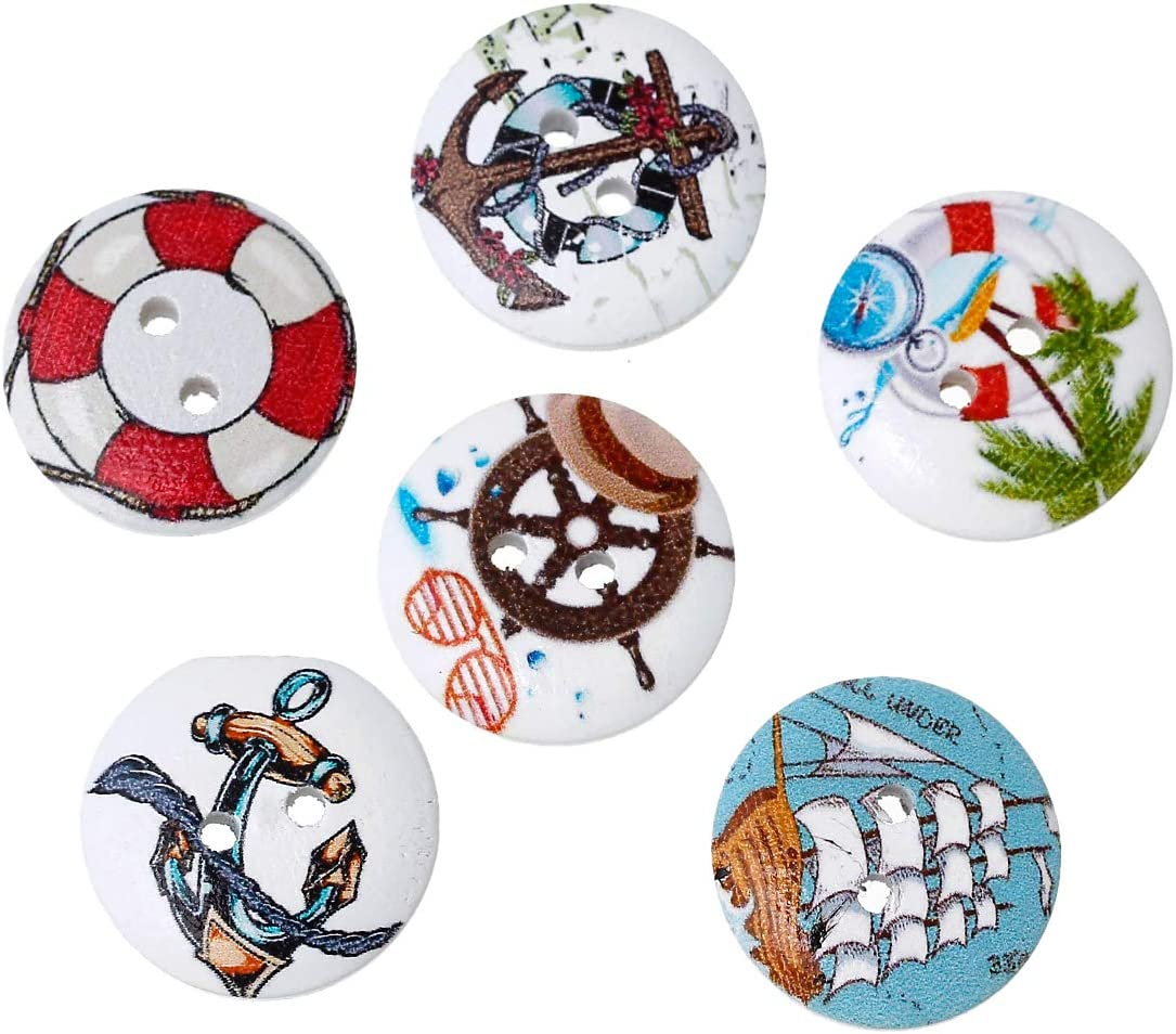 per cucito 2 fori bricolage e decorazione 100 bottoni rotondi in legno da 20 mm SiAura Material colori misti casuali