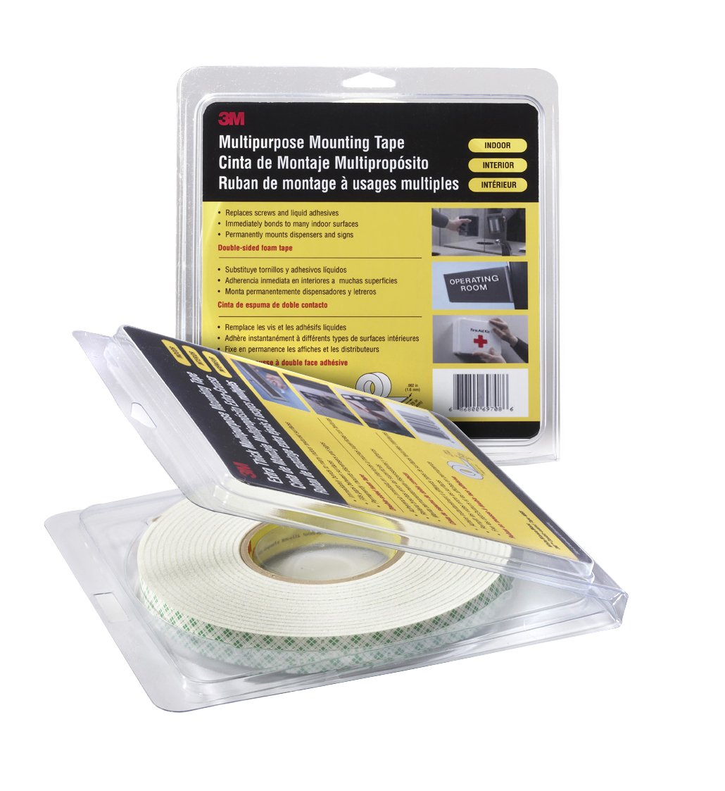 3M 4016 Natural Polyurethane Double Coated Foam Tape 0.375 Width x 5yd Length Pack of 1