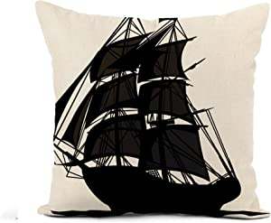 Awowee Flax Throw Pillow Cover Colonial Sailing Pirate Ship Sails Boat Revolutionary War Flying 16x16 Inches Pillowcase Home Decor Square Cotton Linen Pillow Case Cushion Cover