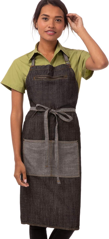 Chef Works Unisex Manhattan Bib Apron, Black, One Size