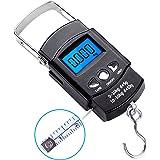 Creand Fishing Scale丨110lb/50Kg Backlit LCD Display Screen丨 Electronic Balance Digital Fishing Postal Hanging Hook Kitchen Luggage Scale丨Measuring Tape Included丨Black