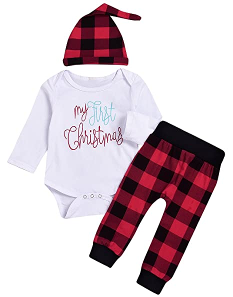 1394b516dc2b Amazon.com  Christmas 3Pcs Outfit Set Baby Girls Boys My First Christmas  Rompers Plaid Pants Outfits Sets  Clothing