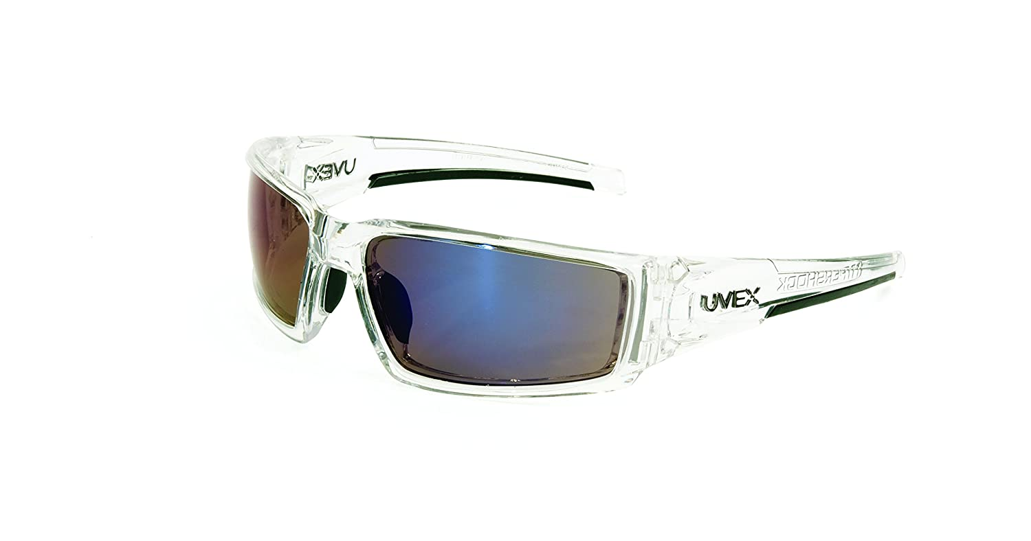 Uvex by Honeywell Hypershock Safety Glasses, Clear Frame with Blue Mirror Lens & Anti-Scratch Hardcoat (S2975)