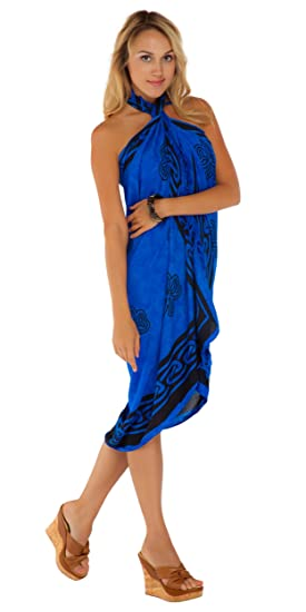 39f832c0543 1 World Sarongs Womens Celtic Swimsuit Cover-Up Sarong Shamrock Trinity in  Blue