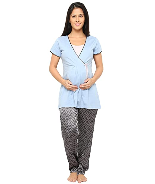 4c0048da1b Women Nightsuit For Pregnant Feeding Women   Nursing Women- BLue Color -  soft Satin Material - Feeding Night ...