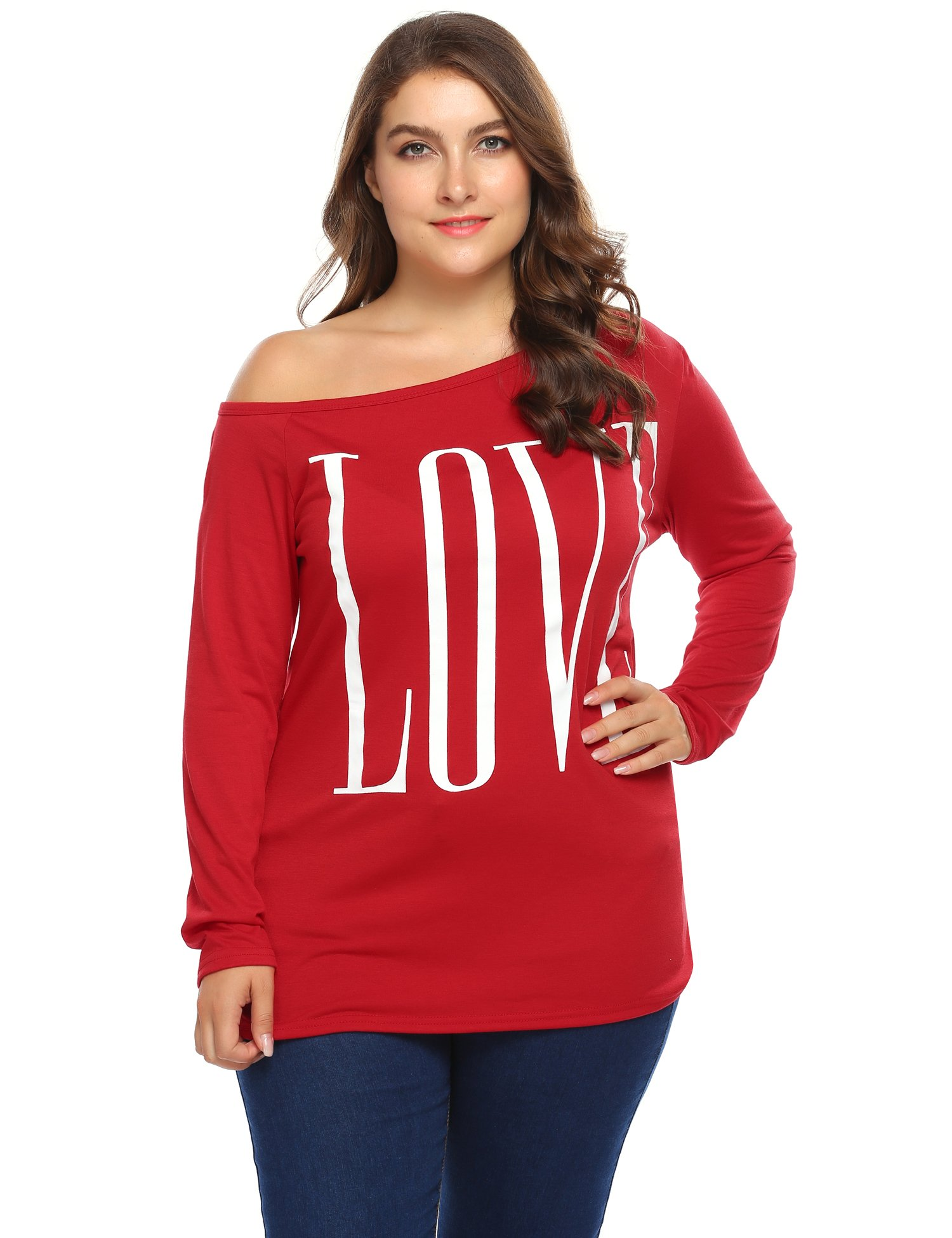 Involand Women One Shoulder Long Sleeve Letter Print Casual T-Shirt Tops Plus Size