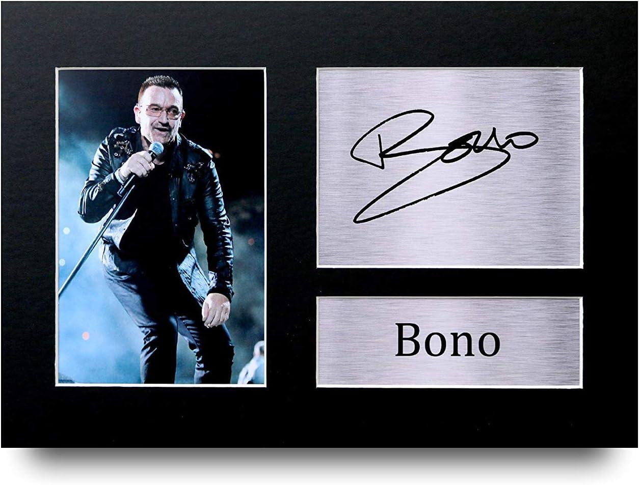 HWC Trading Bono A4 Incorniciato Firmato Regalo Visualizzazione delle Foto Print Immagine Autografo Stampato per U2 Gli Appassionati di Musica