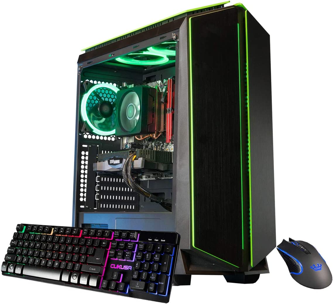 CUK Mantis Custom Gaming Desktop PC (AMD Ryzen 5 3600, NVIDIA GeForce RTX 2070 8GB, 32GB DDR4 RAM, 512GB NVMe SSD + 1TB HDD, 600W Gold PSU, Windows 10) The Best New Tower Computer for Gamers