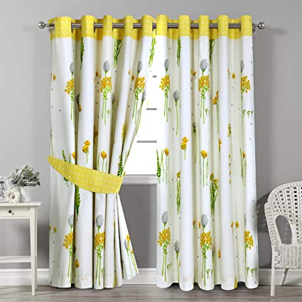 Curtains & Blinds Grey Ochre Yellow Alabar Floral Fully Lined Eyelet Curtains Home, Furniture & Diy