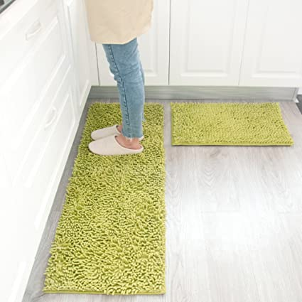 Washable kitchen rugs Country Kitchen Maxyoyo Kitchen Rug Pieces Set Green Chenille Rug For Kitchen Non Slip Washable Amazoncom Amazoncom Maxyoyo Kitchen Rug Pieces Set Green Chenille Rug For