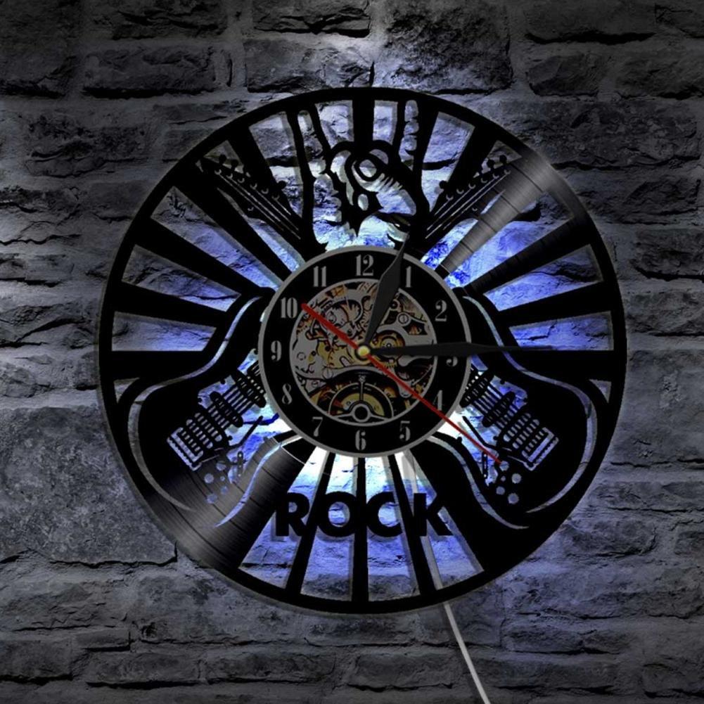 LXZ Rock Musik Abspielen Das Gitarre Led Vinyl Uhr Maßer Beleuchtung Cool Zimmer Innere Dekor Lp Handarbeit Kunst Lampe Fern Regler