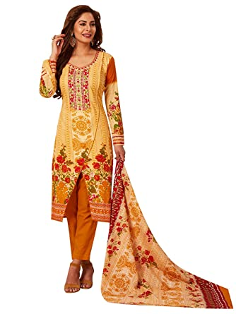 19846d8fe1 Image Unavailable. Image not available for. Colour: Jevi Prints Women's  Unstitched Pakistani Lawn Cotton Yellow Floral Print Salwar Suit ...