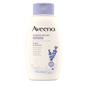 Aveeno Stress Relief Body Wash with Soothing Oat, Lavender, Chamomile & Ylang-Ylang Essential Oils, Hypoallergenic, Dye-Free & Soap-Free Calming Body Wash gentle on Sensitive Skin, 12 fl. oz