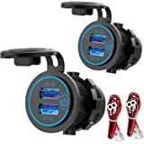 [2 Pack] 12V USB Outlet, Quick Charge 3.0 Dual USB Power Outlet with Touch Switch, Waterproof 12V/24V Fast Charge USB Charger