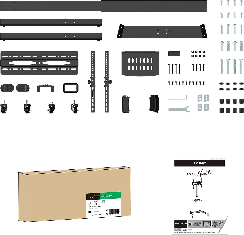 schwarz 32-55 Zoll PureMounts PM-CART-60B TV Standfu fr LCD/LED ...