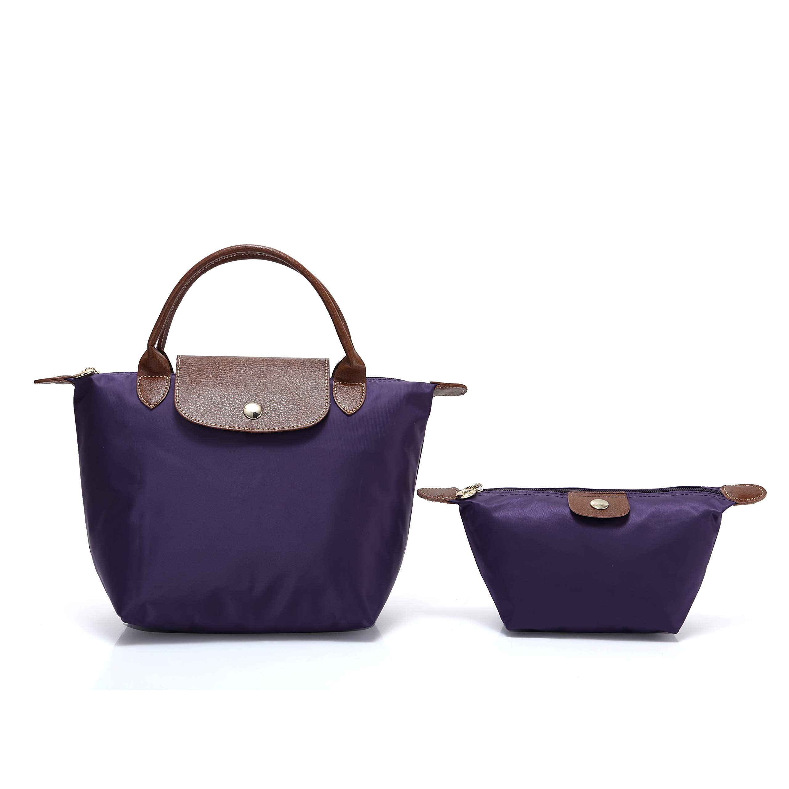 2 pcs Women's Stylish Waterproof Tote Bag Nylon Travel Shoulder Handbag (Dark purple;Mini number)