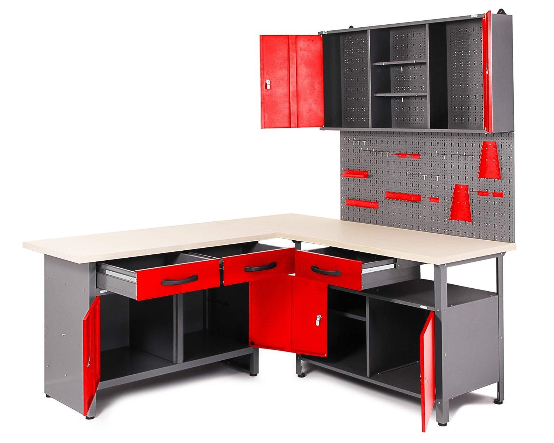 Ondis24 Werkstatt Set 120 cm rot Werkbank Metall Werkzeugschrank Lochwand Haken
