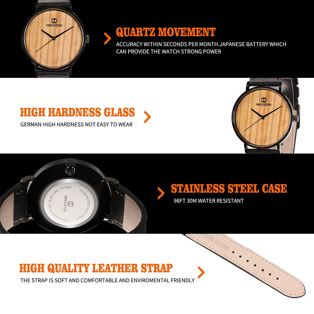 IWOODEN Wooden Watch for Men Wrist Watch Wooden Wristwatch with Leather Strap Natural Bamboo Wood Watch Gift for Groomsmen by IWOODEN (Image #5)