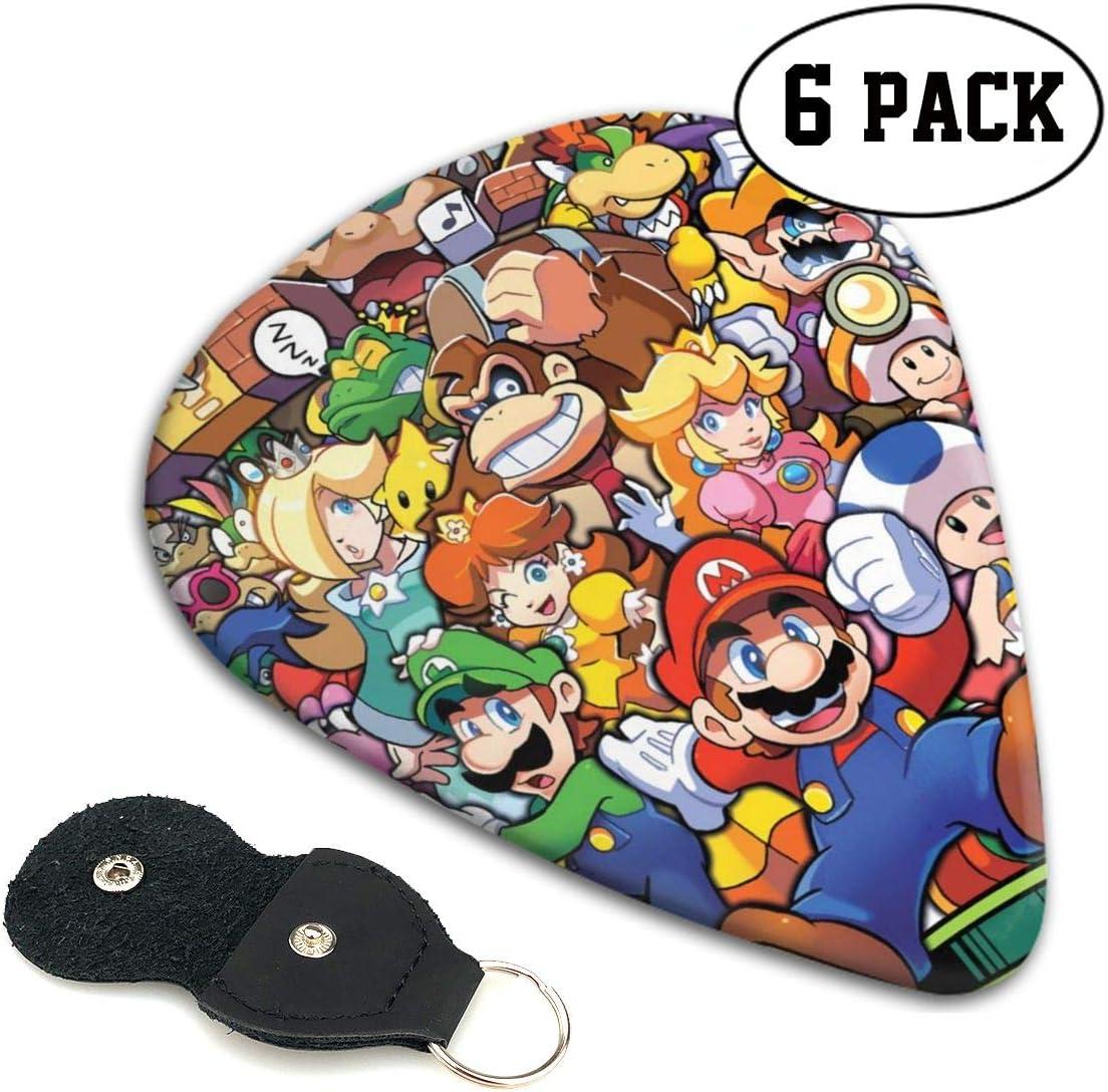 The Legend Of Zelda Superhero Super Mario Smash Bros - Púas de guitarra (6 púas) (para amantes de la música) para bajo, guitarra eléctrica y acústica, 0,46 mm